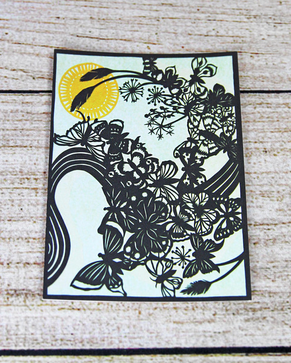 Black Butterfly/Floral Design - Thank You Card