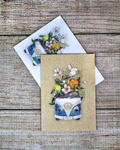 Peace Love Flowers Van - Greeting Card