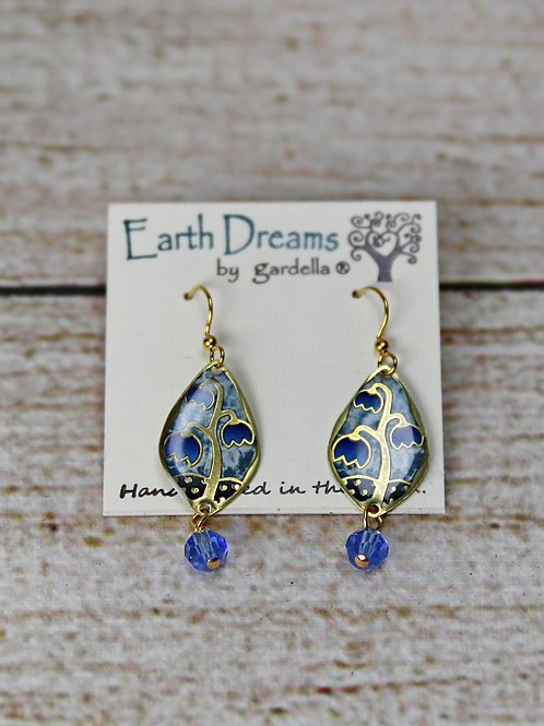 Hand Crafted Blue Floral Earrings