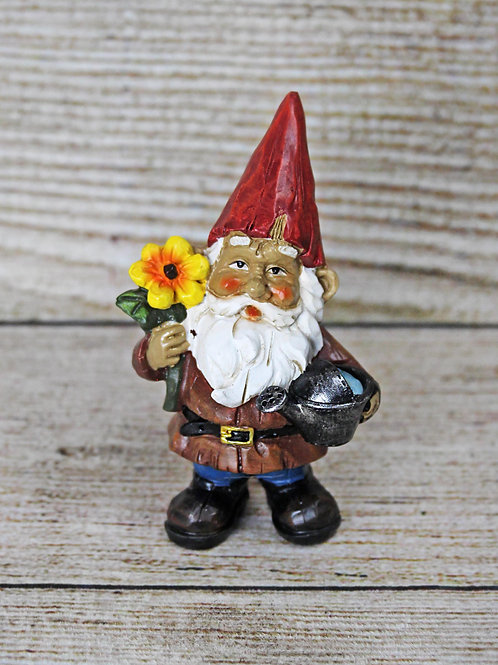 Small Garden Gnome with Flower