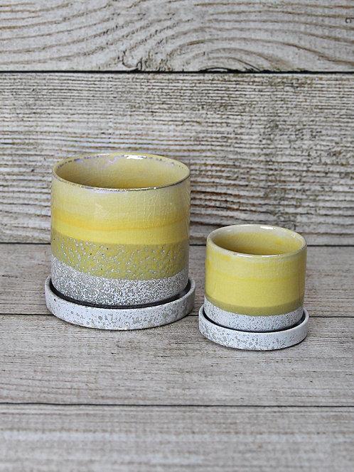 Yellow Glazed Ceramic Pot