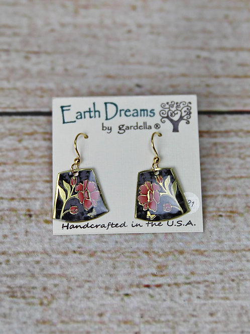 Hand Crafted Pink Floral Earrings