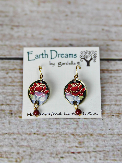 Hand Crafted Red Floral Earrings
