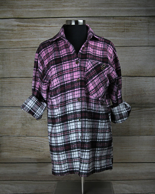 Pink Ombre Flannel Top