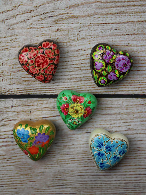 Hand-Painted Heart Magnets