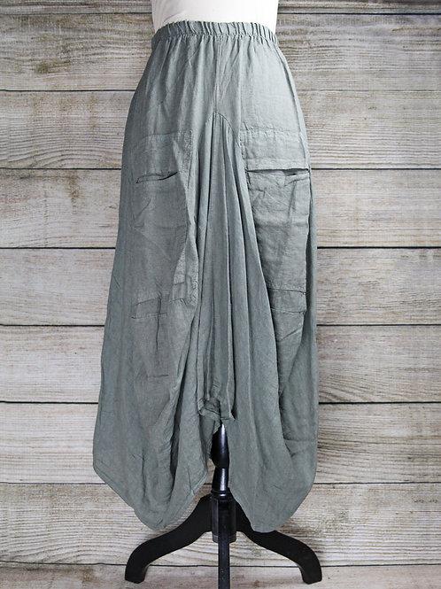 Sage Linen Bubble Skirt
