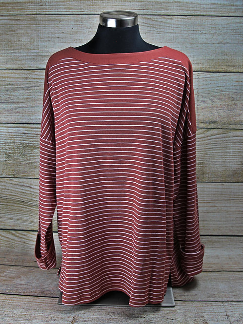 Red Striped Long Sleeve Top