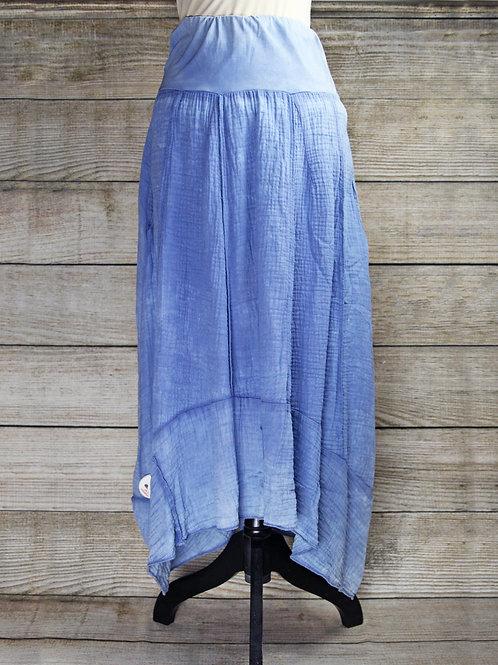 Blue Hi-Low Cotton Skirt