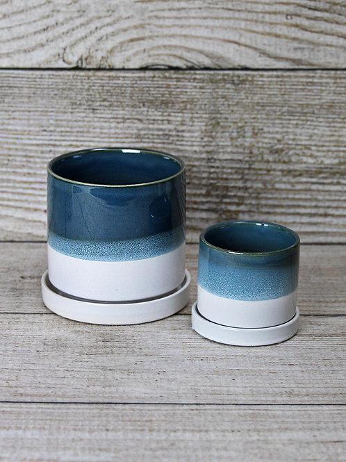 Blue Glazed Ceramic Pot