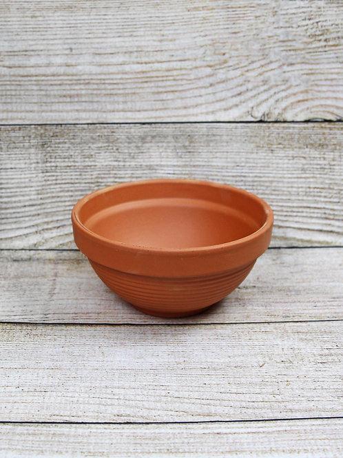 "9"" Ridged Terra Cotta Bowl"