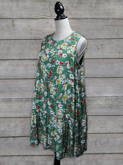 Floral Green Dress with Pockets
