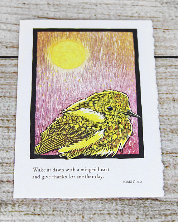 Yellow Bird with Quote - Give Thanks Card