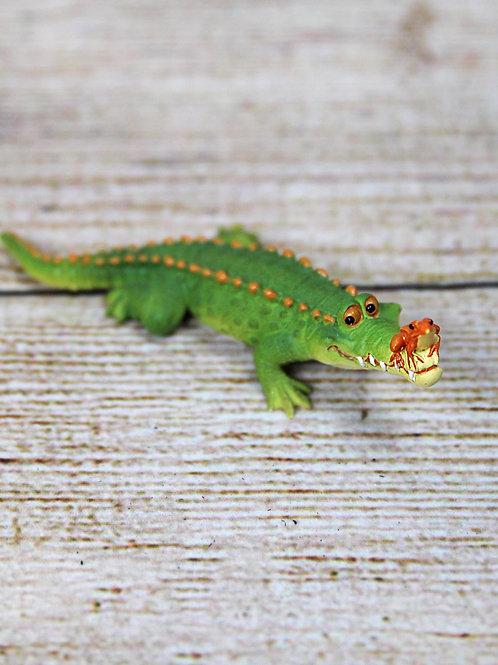 Mini Crocodile and Frog Figurine