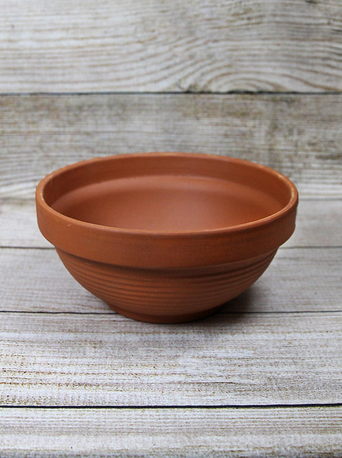 "11"" Ridged Terra Cotta Bowl"