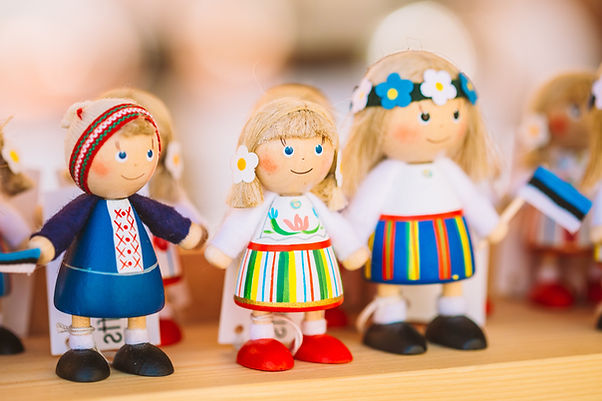 Colorful Estonian Wooden Dolls At market
