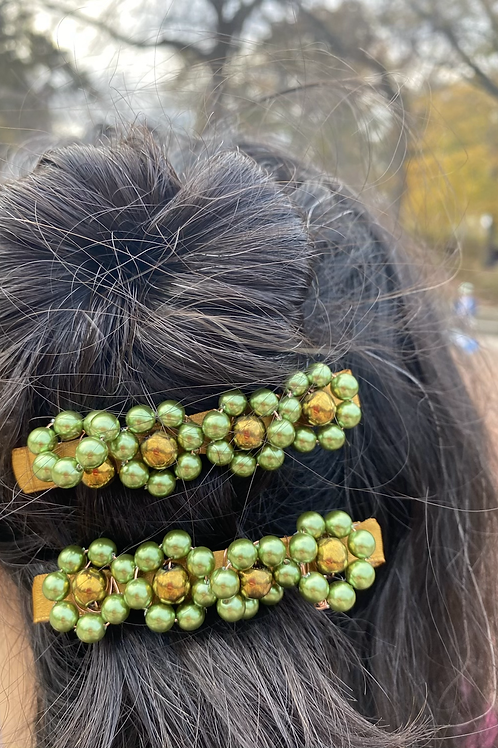 Green Roses Hair Clips