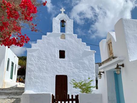 L'entrée du musée d'archéologie de Chora, Amorgos