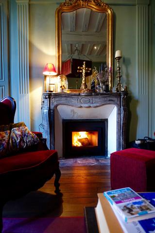 First roaring fire at Le Jardin de la Cathédrale