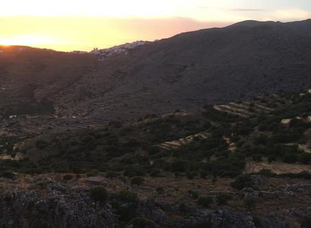 Coucher de soleil depuis la terrasse de ma maison des Cyclades