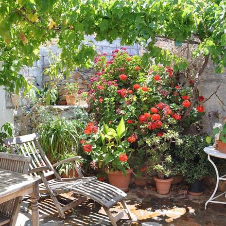 Le patio au printemps.