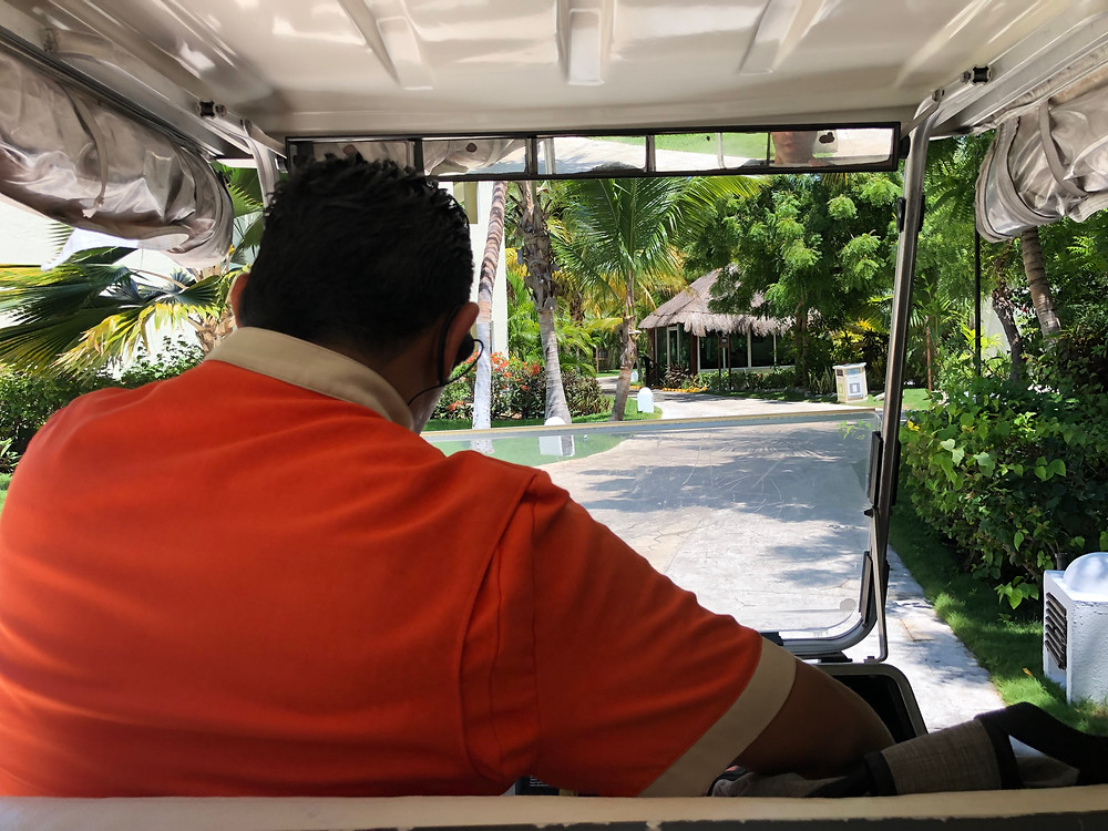 Golf Cart ride at all inclusive resort