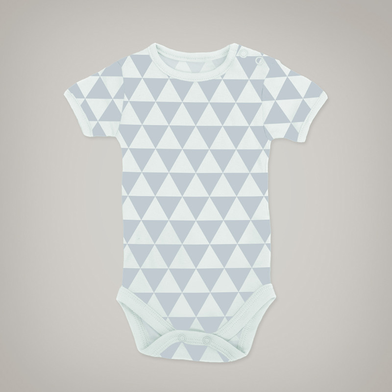 Grey & white triangle baby onesie
