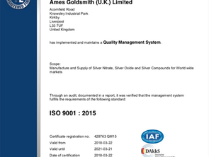 Ames Goldsmith are ISO 9001 : 2015