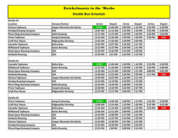 Zwickelmania in the Burbs bus schedule -