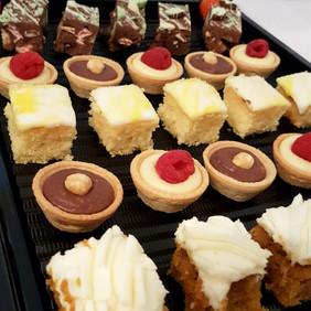 dessert platter, carrot cake, tarts.jpg