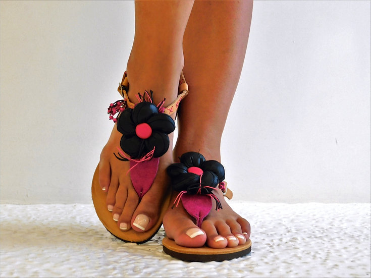Handmade leather sandals flower th32