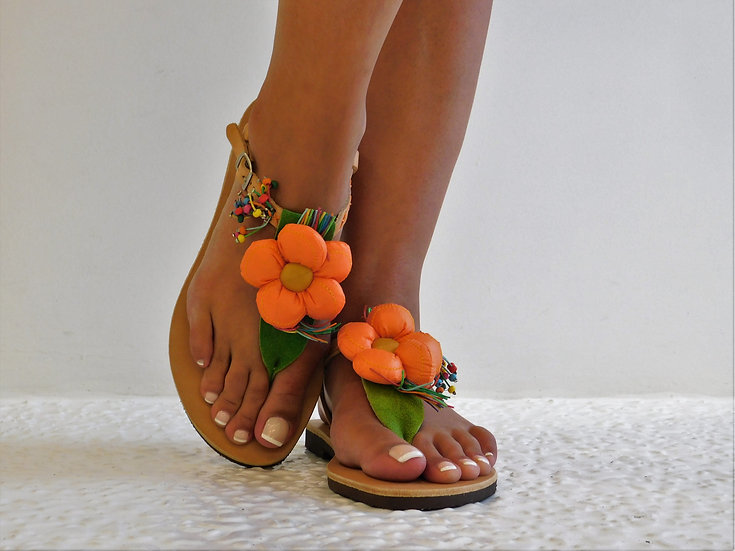 Handmade leather sandals with flower th36