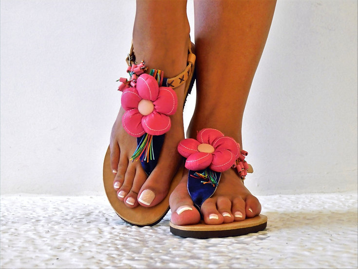 Handmade leather sandals with flower th33