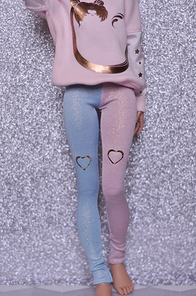 Pink&Blue with hearts glitter leggings