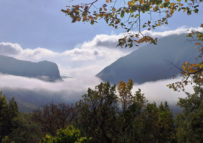"""Salon view of the Gorges with a """"lake"""" of clouds"""