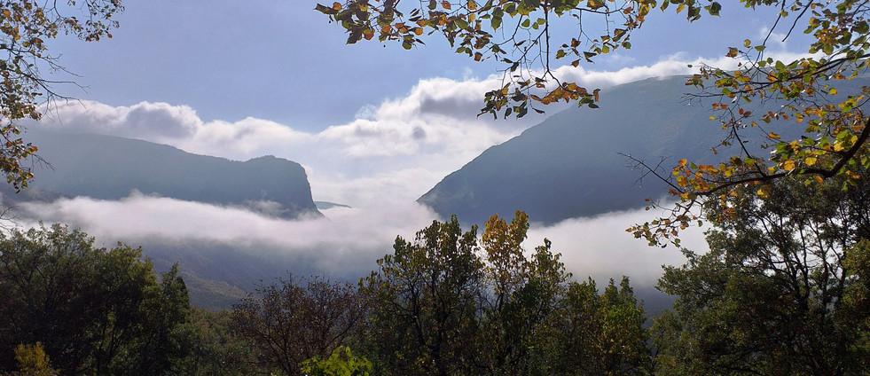 """Vue du salon sur les Gorges avec un """"lac"""" de nuages."""