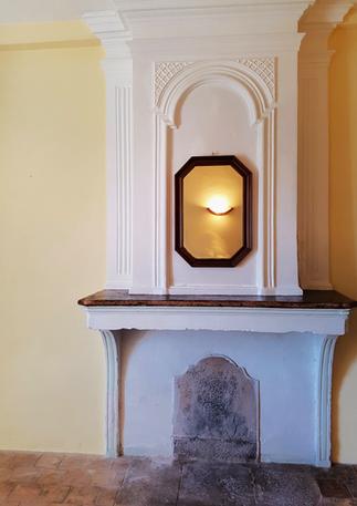 Beautiful decorative original antique fireplace.