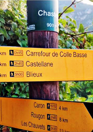 The GR 4 is a walking route of the Grande Randonnée network in France. The route passes through Chasteuil and connects Royan with Grasse.