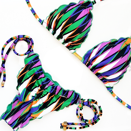 Multicolored patterned Brazilian Bikini with Triangle Shape