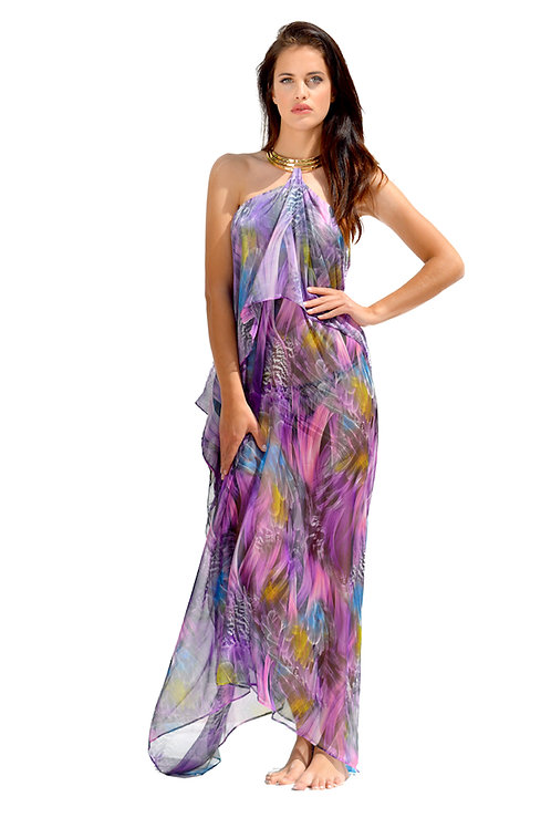 Purple Mix Silk Dress with Crystals Necklace