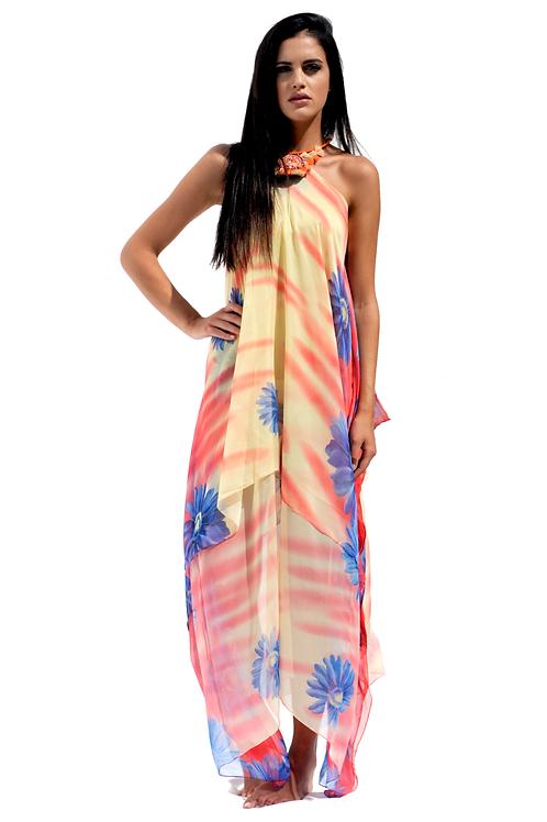 Yellow & Coral Silk Dress with Lila Flowers - Orange Boho Necklace