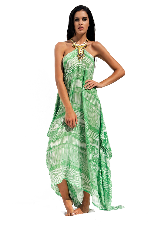 Green Bamboo patterned Cotton-touch Dress with Ethnic Shell Necklace