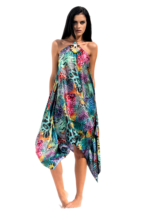 Multicolored Animal Print Silk Dress with Boho Necklace