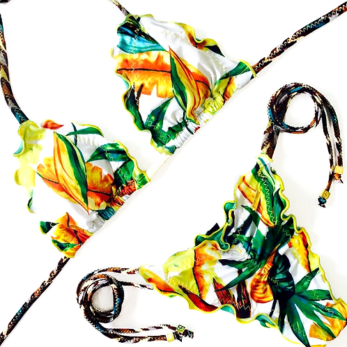 Yellow & Green Tropical patterned Brazilian Bikini with Triangle Shape