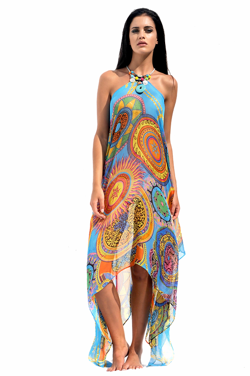 Blue & Multicolored Mandalas Silk Dress with Boho Necklace