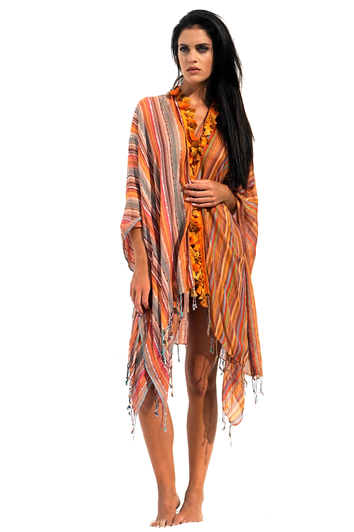 Orange opened Summer Poncho with Orange Fringes