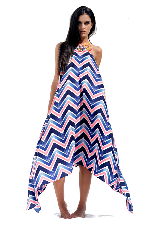 Pink & Blue Geometric Print patterned Cotton-touch Dress with Pink Necklace