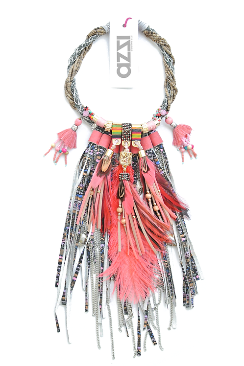 Ethnic Coral Feathers Necklace with Fringes
