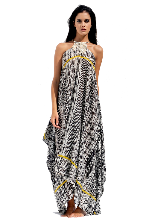 Ethnic patterned Cotton-touch Dress with Suede Fringes & Crystals Necklace