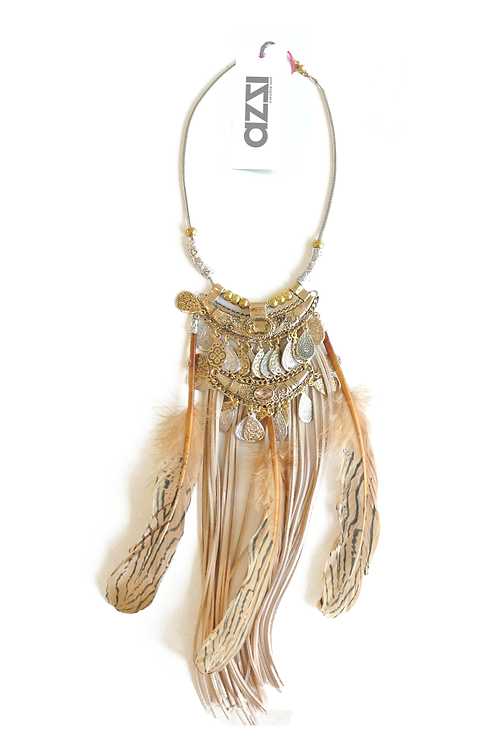 Ethnic Bronze & Silver Feathers Necklace