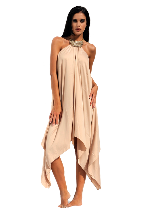 Beige Satin colored Silk Dress with knitted Crystals Necklace